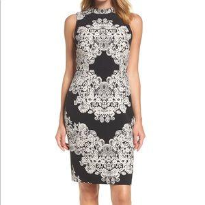 Adrianna Papell lace print sheath dress